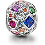 NINAQUEEN 925 Sterling Silver Gifts Christmas Charms Summer Rainbow Colorful Birthstone Bead for Pandöra Charm Bracelets Pendant Jewelry Anniversary Birthday Gift for women wife Sisters Daughter Girls