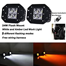 Night Break Light 24W Flush Mount Spot LED Pods/Cubes White Amber Color Changing Cree Led Work Light Spotlight SUV Off Road Headlight Pods Driving Fog Light With Wiring Harness(Pack of 2)