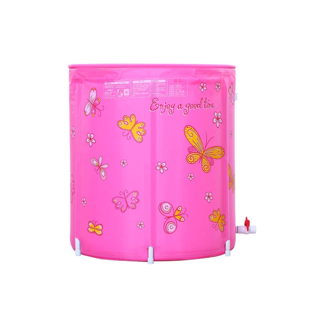 Pink SYAODU Folding Household Bathroom Bathtub Effective Insulation With Lid Adult Large Capacity Bath Tub Environmentally Friendly And Wearable Nylon Cloth Thick Warm And Cold Weather Using Bathtub