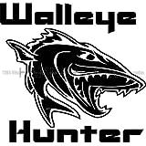 Cool Walleye Hunter Fish Die Cut Vinyl Car Decal Window Sticker