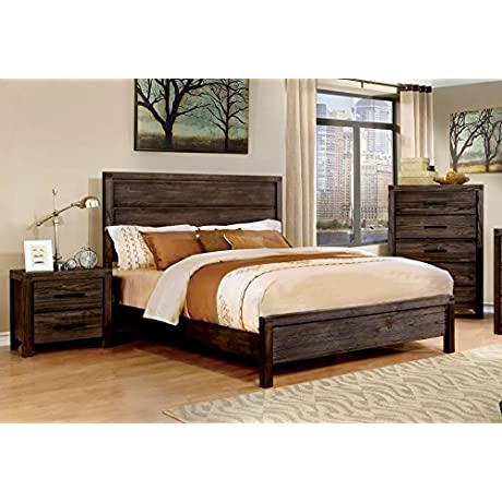 HOMES Inside Out IDF 7382T Gerrard Rustic Bed Twin Wire Brushed Rustic Brown