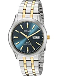 Pulsar Quartz Stainless Steel Dress Watch, Color:Two Tone (Model: PXN197X)