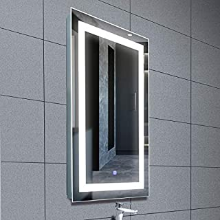 Mecor 36X24 inch LED Lighted Bathroom Mirror Silvered Anti Fog Wall Mounted Mirror with Touch Button,IP44 Waterproof Hanging Rectangle Vertical&Horizontal Mirror