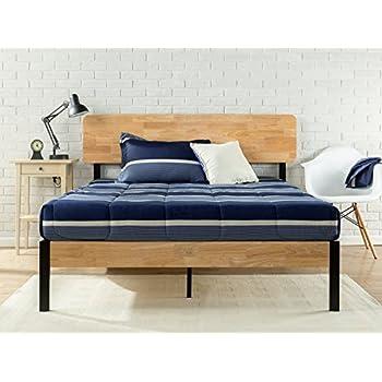 metal wood platform bed slat support queen solid king size frame california