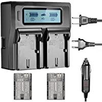 Neewer Dual LED Display Battery Charger with 2 Pieces Rechargeable Canon LP-E6 Replacement Battery, for Canon 7D 5D III 70D 60D 80D SLR Cameras, BG-E9 BG-E13 BG-E7 Battery Grip(US/EU Plug,Car Adapter)