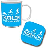 TRIATHLON NOT FOR THE FAINT HEARTED - Triathlete / Swim / Bike / Run / Fun / Gift Idea Ceramic Mug & Coaster Set by The Classic Image Company