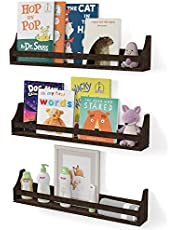 Nursery Décor Wall Shelves 3 Shelf Set Rustic Burnt Wash Crown Molding Floating Bookshelves for Baby and Kids Room, Book Organizer Storage Ledge, Display Holder for Toys, CDs, Baby Monitor (30 Inches)