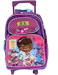 Full Size Purple and Pink Lamb Checkup Doc McStuffins Rolling Backpack