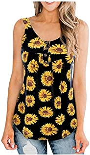 Eoeth Tank Tops for Womens Fashion Sleeveless Sunflower Print Color Block Button Vest T-Shirt Casual Loose Cam
