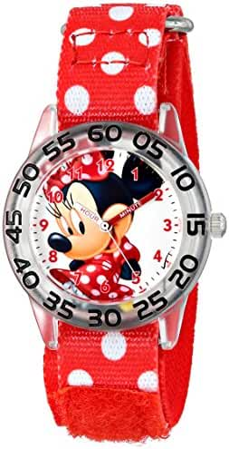 Disney Kids' W001181 Minnie Mouse Time Teacher Watch with Red Nylon Band