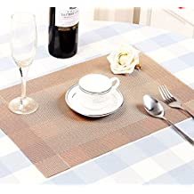 HPYP Deluxe Placemats for Table Heat-resistant,Anti-skidding Crossweave Woven Non-slip Insulation Placemat Washable Table Mats Set of 4 (Coffe)