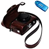 First2savvv XJPT-P7800-10G10 dark brown full body Precise Fit PU leather digital camera case bag cover with shoulder strap for Nikon Coolpix P7700 P7800+ SD CARD READER