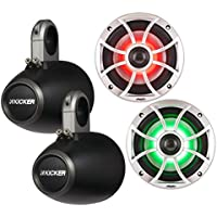 Wet Sounds XS-650-S-RGB LED 6.5 100 Watt RMS Speakers with Kicker KMTES Black Roll Bar/Tower Enclosures