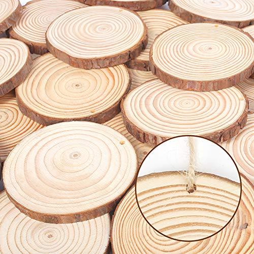 VGOODALL Holzscheiben, 36 STK. Holzscheiben zum Basteln 7-8 cm mit Loch Unvollendete Holzkreise für DIY Handwerk Holz-Scheiben Hochzeit Mittelstücke