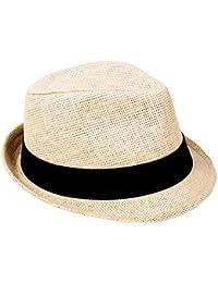 Women Men s Summer Short Brim Straw Fedora Sun Hat de9f13a2c68c