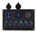 DCFlat 6 Gang Circuit LED Car Marine Boat Rocker Switch Panel Dual USB Waterproof Power Socket Breaker Voltmeter Overload Protection (6 Gang Laser)