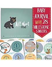 RubyRoo First Year Baby Memory Journal Book + Monthly Milestone Stickers | Record Precious Moments | 5 Year Scrapbook, Picture Photo Album, Keepsake, Personalized Gift - Newborn Boy + Girl - Woodland