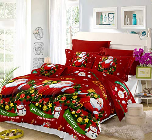 Christmas Duvet Cover Full/Queen Size Christmas Snowman Red Green Quilt Cover Santa Claus Duvet Cover with Zipper Closure 3 D Printed Bedding Cover 3 Piece Bed Set