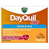 Vicks DayQuil HBP Cough Cold and Flu Relief for People with High Blood Pressure, 24 LiquiCaps