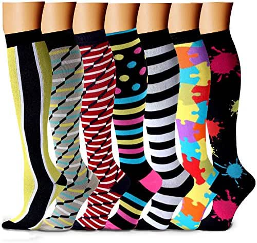 CHARMKING Compression Socks for Women & Men 7/8 Pairs 15-20 mmHg is Best Graduated Athletic Running Flight Travel Nurses Pregnant - Boost Performance Blood Circulation & Recovery