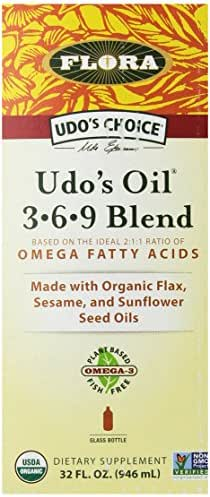 Udo's Choice Organic Omega 3-6-9 Oil Blend 32 Oz - Great Vegan Alternative To Fish Oil - Natural & Plant Based Unrefined Oil With Flax, Evening Primrose, Coconut, Sunflower & More - Made In the USA