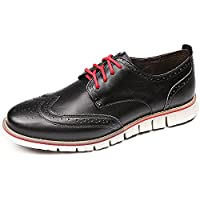 Laoks Men's Brogues Oxford Wingtip Genuine Leather Dress Shoes for Business Casual Lace-up Brown