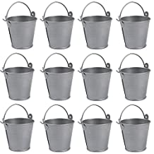 AerWo Mini Metal Bucket Tin Candy Box Buckets Souvenirs Gift Pails for Bridal Wedding Party Baby Showers (Gray, 20pcs)