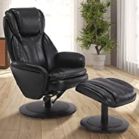 Mac Motion Comfort Chair Norway Recliner and Ottoman in Black Air Leather