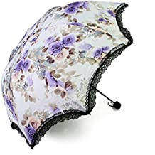 kilofly Anti-UV Folding Travel Parasol Vintage Floral Rain Sun Shade Umbrella