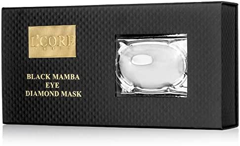 L'Core Paris Black Mamba Diamond Eye Mask with Hyaluronic Acid - Makes Your Face Younger, Silkier, Smoother and Healthier - Contains 8 Masks