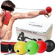 Boxing Reflex Ball with Headband, 4 React Reflex Ball Plus Adjustable Sports Headband Tie Perfect for Reaction