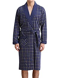 Men's Bathrobe Spa Kimono Shawl Collar Knee Length Longsleeve Cotton Robe