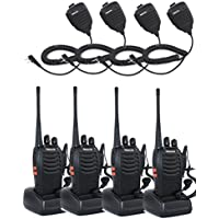 Retevis H-777 2 Way Radio UHF 400-470MHz 3W 16CH with Original Earpiece Walkie Talkies(4 Pack) and Speaker Mic (4 Pack)