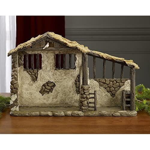 Image of Home and Kitchen Christmas Nativity Lighted Stable Manger Figurine - 14 inch Scale