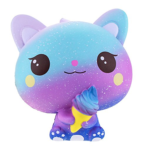 Squishies Jumbo Ice Cream Cat, VLAMPO Slow Rising Stress Relief Squishy Toys Super Soft Kawaii Scented Decoration Toys Squishy Fun Collection for Kids & Adults (Galaxy Purple)