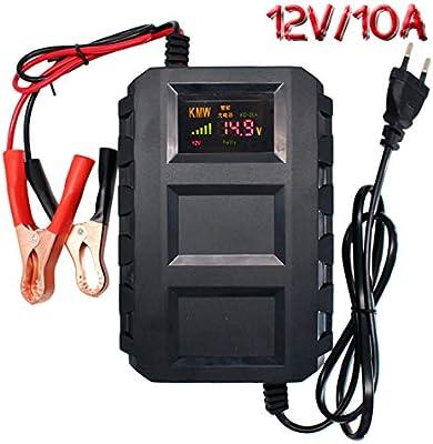 Etrogo Cargador de Baterias Coche, 10A 12V Mantenimiento Automático e Inteligente con Múltiples Protecciones Pantalla LCD con Cocodrilo de Cobre Puro