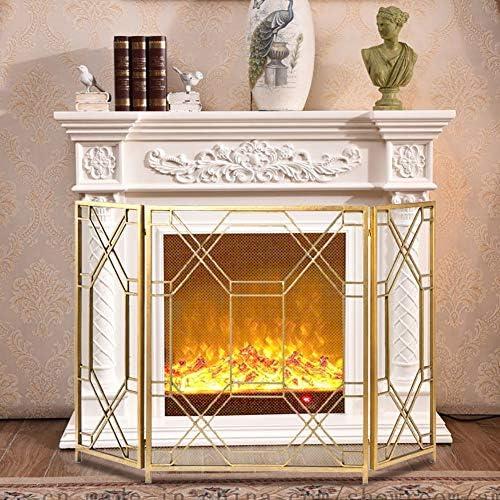 暖炉スクリーン 暖炉リビングルームのインテリアのための3-パネル錬鉄の暖炉の安全柵、シンプルなリビングルーム暖炉パーティションスクリーン、