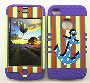 APPLE IPHONE 4 4S 4G CASE STRIPES ANCHOR LP-TE660 HEAVY DUTY HIGH IMPACT HYBRID COVER LIGHT PURPLE SILICONE SKIN
