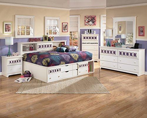 Jura White Finish 5pc Bedroom Set Bookcase Full Size Bed Dresser Mirror 2 Nightstands