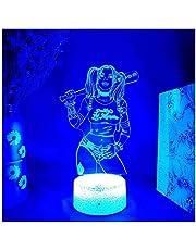 GEZHF Harley Quinn door Suicide Squad 3D Illusie Lamp Cool Home Party Xmas Vakantie Decoratie Backlight Gift LED Nachtlampje Sensor