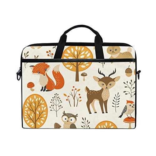 AHOMY Laptop Shoulder Bag Tree Bird Owl Deer Fox Pattern 14-Inch Laptop and Tablet Bag ()