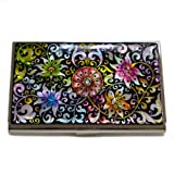 Antique Alive Mother of Pearl Arabesque Flower Design Business Credit Card Holder Wallet (B101) by Antique Alive