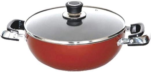مقلاة عميقة من الومنيوم بغطاء 30 سم من رويال فورد، احمر – RF2949