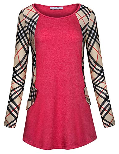 (Diphi LiLi Raglan Tunics for Women,Cotton Knitted Multicolor Striped Round Neck Shirt Plaided Printed Arm Tee Stylish Buffalo Check Loose Fit Casual Blouses and Tops Pink Medium)