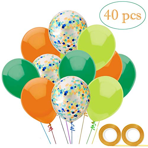 Vodolo 12'' Dinosaur Party Balloons, Orange Light Blue Fruit Green Latex Balloons and Confetti Balloon 40 pcs for Baby Shower Dino Jungle Jurassic Birthday Party Decorations Supplies, 2 Gold Ribbons... ()