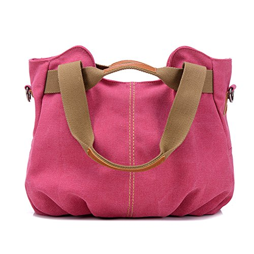 Myleas Damen Damen Casual Vintage Hobo Canvas Daily Geldbörse Top Handle Schulter Tote Shopper Handtasche Pink