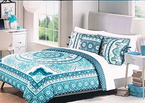 Cynthia Rowley Bedding 3 Piece Full/Queen Size Duvet Comforter Cover Set Round Vintage Boho Medallion Hippie Bohemian Tapestry Pattern in Shades of Blue Aqua Green on White - Quinn Medallion