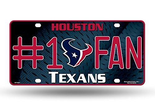 NFL Houston Texans #1 Fan Metal Auto Tag