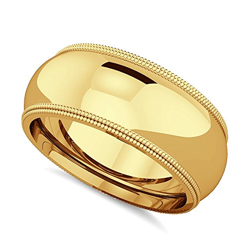 2heart 14K Yellow Gold Fn 4mm 5mm 6mm 7mm 8mm Men's & Women's Double Miligrain Wedding Band 14k Yg Mens Ring