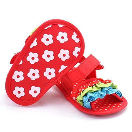 estamico Baby Girl de suave diseño de flores parte inferior Sandalias rojo rosso Talla:12-18 meses rosso